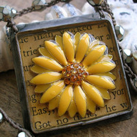 Crochet necklace - Fresh Flowers - Spring jewelry, sunflower boho eco friendly upcycled, yellow daisies bohemian artisan Vintage Market