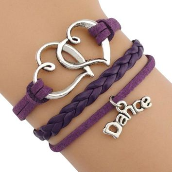 Dance Dancer Music Note Treble Clef Wave Ballet Heart Infinity Love Charm Bracelets Purple Black Pink Women Men Jewelry Gift
