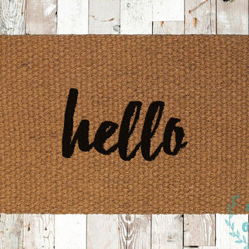 Hello Cursive Coir Doormat, Decorative Area Rug, Hand Painted Hand Woven, Housewarming Gift