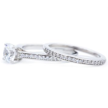 6.5mm Round Moissanite 14K White Gold Engagement Ring And Wedding Band Set