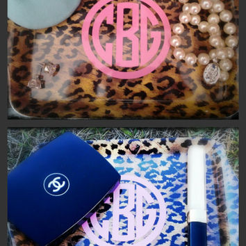 Leopard Print Monogram Catch All Tray
