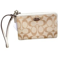 Coach F64375 Light Khaki /Chalk Signature Corner Zip Women's Wristlet
