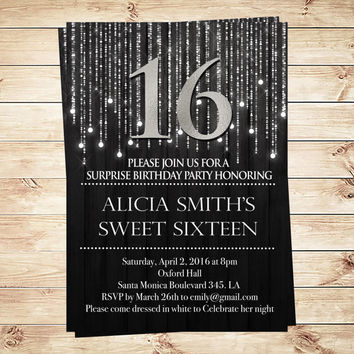 Elegant Sweet 16 Black and Silver Invitations and Announcements, black and silver 16th party invitations, Invite PDF, Art Party Invitation