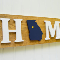 "Georgia Tech Yellow Jackets ""State Heart"" Home Sign - Handcrafted wood with official team colors"
