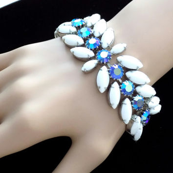 Signed Weiss Bracelet Blue AB Rhinestone and White Milk Glass Cabochon Vintage