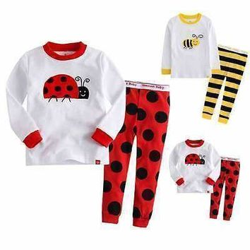 2016 Fashion Kids Baby Children Cotton T-shirt Top+Pants Pajamas Set Sleepwear Outfit Clothing for 2-7y kid