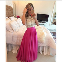 Women Sexy Deep V-Neck Backless Lace Long Pleated Party Dress [9221443140]