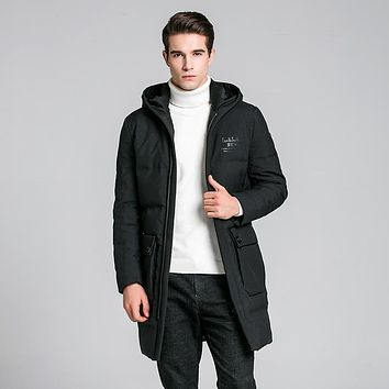 Duck Down with hooded Jacket Men 2017 Winter Long Waterproof High quality Down Coat Windproof