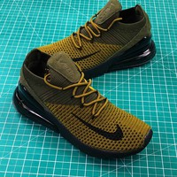 Nike Air 270 Flyknit Olive Black Ao1023-003 Sport Running Shoes - Best Online Sale