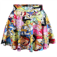 Adventure Time Digital Print Skater Mini Skirt