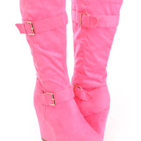 Fuchsia Mid Calf Wedge Boots Faux Suede