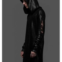 WIDOW BLACK INK FOIL TATTERED HOODY