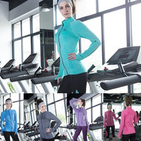 Style Quick-dry Long-sleeved Sweatshirt for Women Clothes Running Fitness Zipper Jacket Outerwear = 1705673476