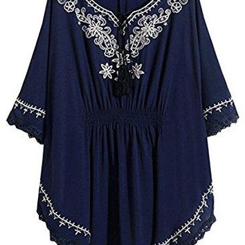 Futurino Women Bohemian Floral Embroidered Lace Hem Peasant Tassel Mexican Blouse Shirt Top