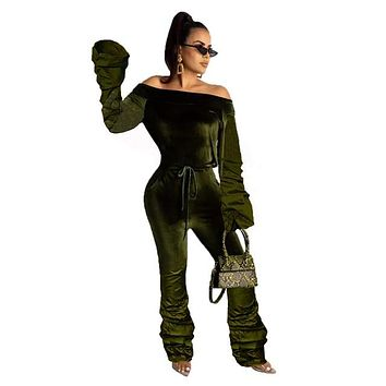 Women Sexy Ruched Velvet Off The Shoulder Fashion Jumpsuit