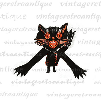 Digital Halloween Cat Graphic Download Image Orange and Black Printable Antique Clip Art  HQ 300dpi No.713