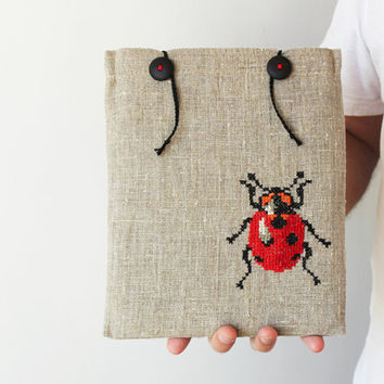 iPad case or sleeve Lady bug iPad 1 2 3 new Romantic Beetles and bugs Crossstitch embroidery Made to order