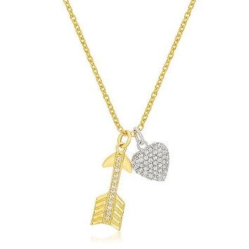 Cupid Necklace - Pave Heart And Arrow 18K Gold Plated Necklace