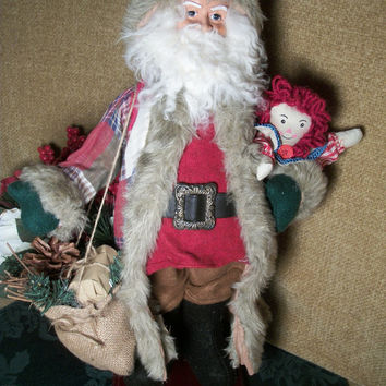 Rustic Woodland Santa Claus Plaid Coat  Doll Sack of Pine Cones Greenery Tabletop Statuette Collectible Figurine Christmas Decoration