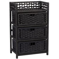 Household Essentials Paper Rope 3-Drawer Chest (Black)