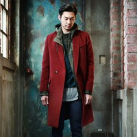 Mens Boxy fit Wool Coat With Snap button at Fabrixquare