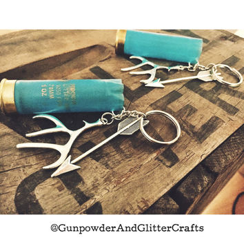 Teal 12 Gauge Shotgun Shell Keychain with Antler and Arrow Charm