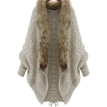 Tremblant Fur Trim Tie Back Cardigan - Beige RESTOCKED!