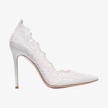 white 105 lace detail leather pumps