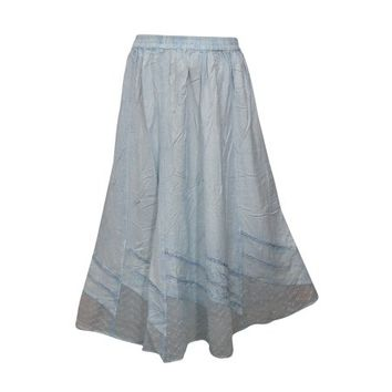 Mogul Womens Bohemian Summer Skirt A-Line Light Blue Rayon Elastic Waist Enzyme Wash Gypsy Skirts S - Walmart.com