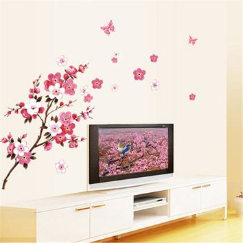 Plum Blossom Wall Stickers Lotus Flowers Romantic DIY Removable Wall Poster Home Decor wallpaper Mural Decals Home Decoration