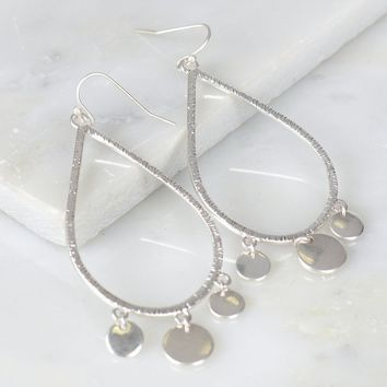 Teardrop Tri-Charm Earrings Silver