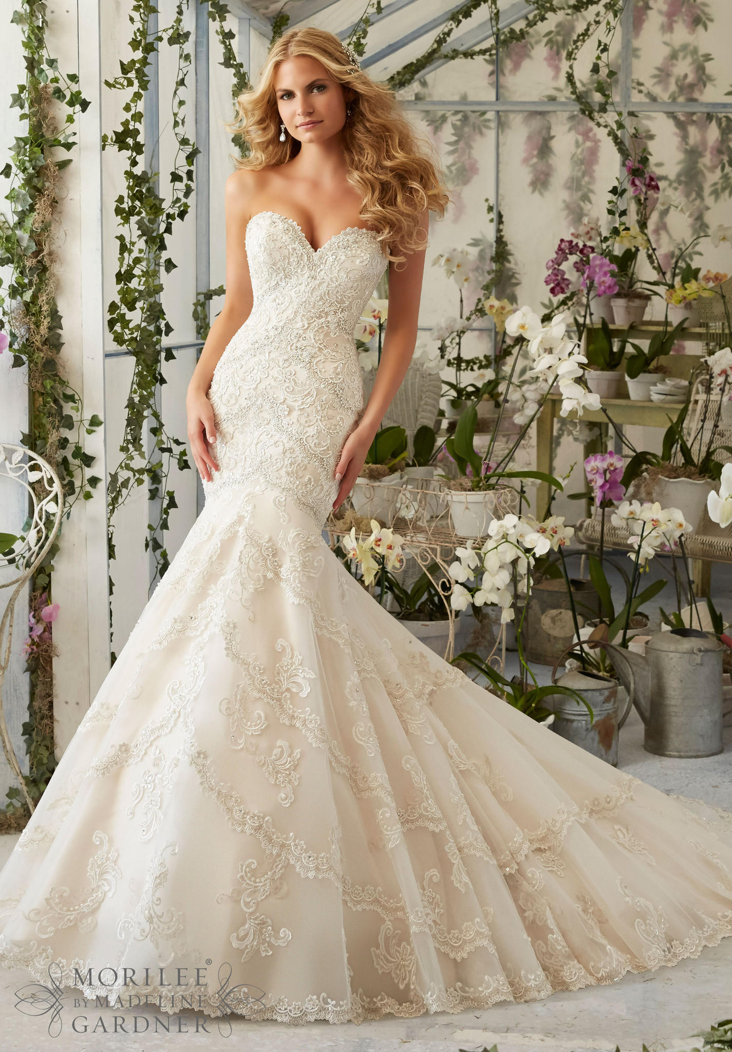 Mori Lee 2801 Strapless Lace Fit Flare Wedding Dress