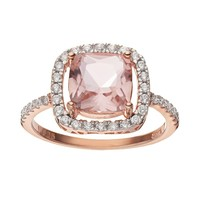 Cubic Zirconia 14k Rose Gold Over Silver Halo Ring (Pink)