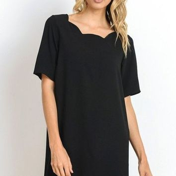 Lauren Black Scalloped Trim Shift Dress
