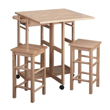 Space Saver, Drop Leaf Table with 2 Square Stools