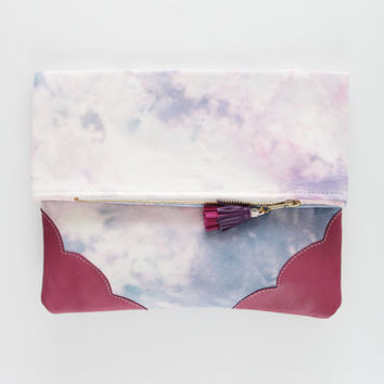 KELLY 12  / Dyed cotton & Natural leather folded clutch bag - Ready to Ship