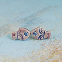 Mini ,romantic fish- lilac,purple,violet,blue,ceramic stud, post, earrings, mini ,surgical steel,fish,minimalist,