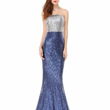 [Clearance Sale] Prom Dresses Ever Pretty Sexy Women Strapless Sequins Long Prom Dresses 2017 HE08372 Special Occasion Dresses