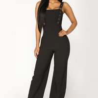 Get A Grasp Buckle Jumpsuit - Black