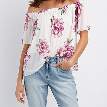 Floral Mesh Off-The-Shoulder Top