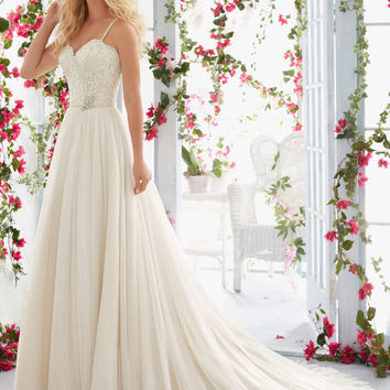 Morilee Bridal Madeline Gardner Scalloped Alençon Lace Edging and Appliqués with Crystal Beaded Straps and Soft Tulle Skirt Wedding Dress | Style 6818 | Morilee