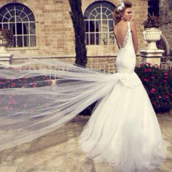 Wedding dress, lace wedding gown, designer dress, low cut back, dropped waistline, trumpet silhouette, custom made