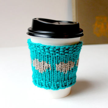 Teal Coffee Cozy, Wool Cup Sleeve, Reusable Cup Cozy, Knit Coffee Sleeve, Turquoise Gift, Valentines Day Gift, Teal Gift, Reusable Cup Cover