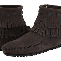Minnetonka Double Fringe Side Zip Boot Dusty Brown Suede - Zappos.com Free Shipping BOTH Ways