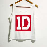 One Direction Tshirt 1D Rocker Shirt Women Girl Side Boob Tunic Tank Top White Color