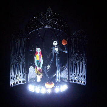 Nightmare Before Christmas Bride and Groom Jack and Sally Wedding Cake Topper White Lights Tree