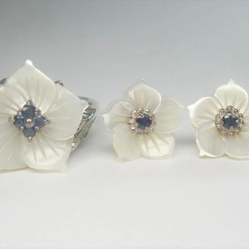 Mother of Pearl Sapphire Flower Sapphire Ring Earrings Jewelry Set