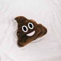 Poop Emoji Throw Pillow