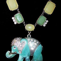 "Elephant Pendant Necklace Earring Set Blue Stone Rhinestones Silver Metal 20"" Vintage 1980s"