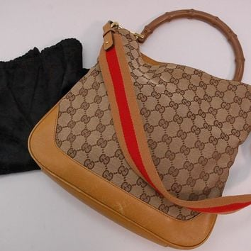 Authentic Gucci GG Canvas Leather 2way Hand Bag, Shoulder Bag